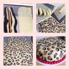 Comment réaliser une couverture de gâteau en pâte à sucre ou pâte d'amande motif léopard - Torta Animal Print paso a paso