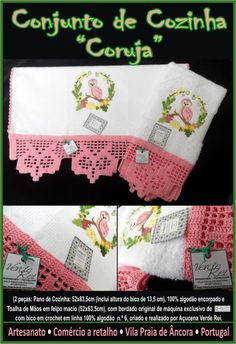 """Kitchen cloth and Hand towel - """"Owl"""" (100% cotton) with crochet beak (100% cotton thread)"""