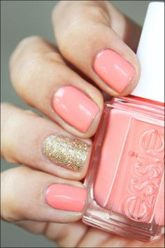 Pink, gold glitter accent nail