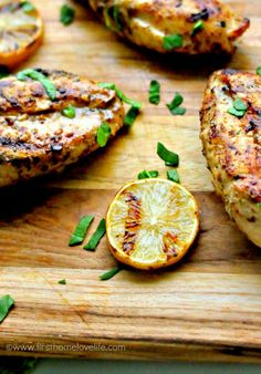 Grilled lemon Dijon chicken--to go with the avocado salad, yum!