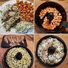 """Hähnchenbrustfilet auf Zucchini mit Süßkartoffeln   Zubereitung in der Actifry 2in1  2x Süßkartoffeln in kleine Würfel schneiden schneiden und mit einem Hauch Olivenöl 20 Minuten im Garbehälter föhnen.  In der Zwischenzeit eine große Zucchini in feine Streifen schneiden und auf der Grillplatte drapieren. Ein wenig Kokosöl """"einkneten"""" und 10 Minuten zusammen mit den Süßkartoffeln kreiseln lassen.  Grillplatte entnehmen. Die Süßkartoffeln weiter 5 Minuten kreiseln lassen.  Auf die Zucchini…"""