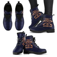 Harry Potter 4 House Quidditch Women's Leather Boots HP0108 - Ravenclaw / US11.5 (EU43)