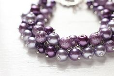Purple Wedding Bridesmaid Jewelry Pearl Cluster by skyejuice Pearl Bridesmaid Jewelry, Pearl Jewelry, Bridesmaid Gifts, Wedding Jewelry, Fine Jewelry, Wedding Necklaces, Wedding Bracelet, Beaded Jewelry, Jewelry Box