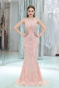 Sexy Halter Backless Blush Pink Tulle Beaded Evening Occasion Dress Blush  Pink Dresses 5be730612c40