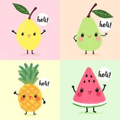 Kawaii fruits - lemon, pear, pineapple, and watermelon