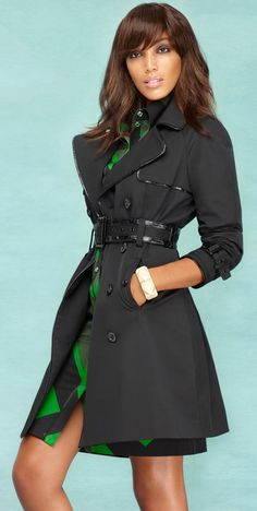 Our favorite NY Trench just got a fashion update - with sleek, chic faux leather trim!