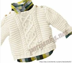160 - n° 37 Pull Irlandais Tricothèque, broderie & tricot - Baby/toddler Aran cabled sweater FREE knitting pattern in French (hva) Knitting Patterns Boys, Baby Sweater Patterns, Knitting For Kids, Baby Patterns, Free Knitting, Baby Boy Sweater, Knit Baby Sweaters, Boys Sweaters, Cable Sweater