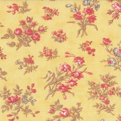 3 Sisters Moda Fabric | Moda 3 Sisters Printemps Quilt Fabric Medium Floral Buttercup Yellow ...