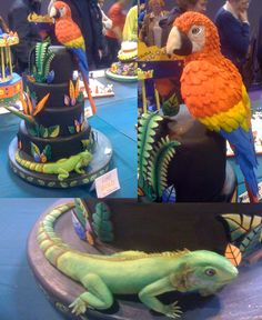 Looooove the lizard cake! Girl Spa Party, Bee Party, Novelty Birthday Cakes, Novelty Cakes, Lizard Cake, Snake Party, Reptile Party, Cake International, Animal Cakes