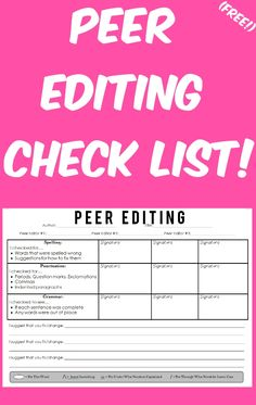 essay peer editing checklist