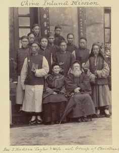 1890s: China Inland Mission. Rev. J. Hudson Taylor & Wife, with Group of Christians