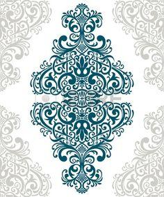 millésime frontière cadre baroque couvercle de la carte de fleur motif arabe retriver fleuri Banque d'images