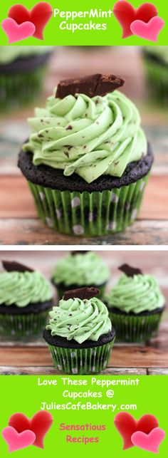 Peppermint Cupcakes - All of these Dark chocolate Chip Peppermint Cupcakes are extremely easy to make yet happen to be loaded with flavor having a succulent dark chocolate cake smothered along with a whipped peppermint buttercream.  Delicious!