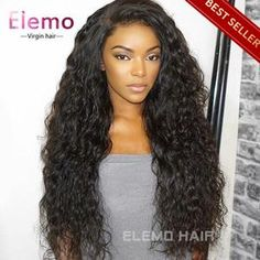 Elemo 360 Lace Frontal Wigs With Baby Hair Water Wave 100% Virgin Human Hair – Elemo Hair Short Hair Ponytail, Short Hair Wigs, Short Hair Styles, Curly Hair, Kinky Hair, Curly Full Lace Wig, 360 Lace Wig, Permed Hairstyles, Straight Hairstyles
