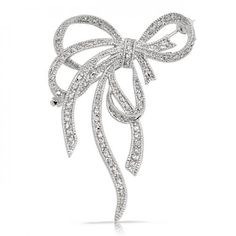 Pave Cubic Zirconia Silver Tone Fancy Knot Bow Ribbon Brooch Pin