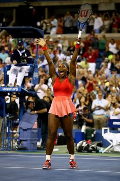 #17 For World #1 Serena Williams! Serena won the 2013 U.S. Open by defeating 2X Australian Open Champion Vika Azarenka on Day 14. Serena salutes the crowd shouting #ComeOn in ner excitement. 9/8/2013#TEAMSERENA