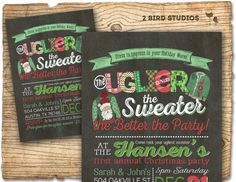 Ugly sweater invitation  Ugly Christmas sweater  by 2birdstudios