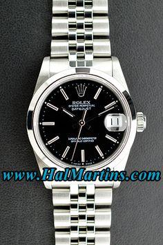 Midsize #Rolex Datejust 68240 with Black Index Dial, $4,200.00. #midsizerolex #rolex68240 #ladywatches