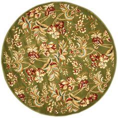 Lyndhurst Collection Floral Sage Rug (5' 3 Round)
