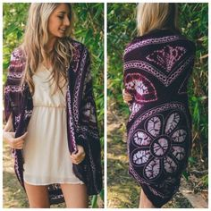 "Burgundy Bohemian Pattern Kimono One Size So pretty!  Burgundy bohemian print kimono, so pretty as a swim coverup or as a kimono, 100% polyester, measures 45"" long.  No Trades, Price Firm unless Bundled.  BUNDLE 3 OR MORE ITEMS FOR 15 % OFF. Boutique Accessories Scarves & Wraps"
