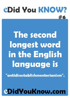 eDid You Know? — The second longest word in the English language is. Wow Facts, Wtf Fun Facts, Funny Facts, Interesting Facts About World, Interesting Information, Unbelievable Facts, Amazing Facts, General Knowledge Facts, Gernal Knowledge