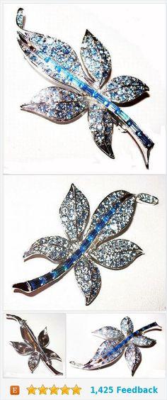 "Pell Blue Rhinestone Brooch Signed Baguettes Silver Metal 2 3/4"" Vintage https://www.etsy.com/BrightgemsTreasures/listing/558420049/pell-blue-rhinestone-brooch-signed?ref=shop_home_active_8"