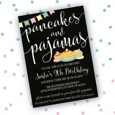 Pancakes and Pajamas Invitation, Sleepover Invitation, Pancakes and Pajamas Birthday Party Invitation, Printable Birthday Invitation by LittleHamCollection on Etsy https://www.etsy.com/listing/493259259/pancakes-and-pajamas-invitation