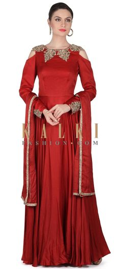 Buy this Maroon anarkali suit with cut work embroidered neckline only on Kalki