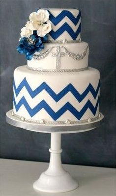 Silver, blue and white chevron cake! I love this for Zoey's Baptism cake!