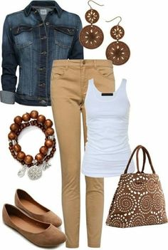 White Tank, Beige Pants, Denim Jacket, Brown Accessories - Casual Outfit by KRLN - Mode - Fashion Outfits Outfits Casual, Mode Outfits, Fall Outfits, Fashion Outfits, Casual Clothes, Casual Wear, Summer Outfits, Spring Outfits Women, Jeans Fashion