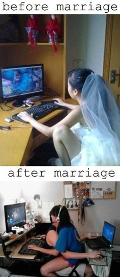 Funny pictures about Before and after marriage. Oh, and cool pics about Before and after marriage. Also, Before and after marriage. Funny Images, Funny Pictures, Before And After Marriage, Ty Dye, Gamer Couple, Gaming Memes, The Villain, I Laughed, Hilarious