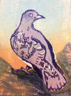 ACEO Purple Dove (woodcut)