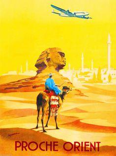 Egypt Cairo Sphinx Proche Orient Egyptian Vintage Travel Advertisement Poster