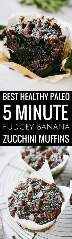 Best healthy flourless fudgey banana zucchini muffins. Made in minutes, these easy gluten free breakfast muffins are extra big bakery style adn loaded with decadent chocolate and healthy greens. Best gluten free breakfast recipes. Easy paleo diet recipes for beginners. Best gluten free diet desserts