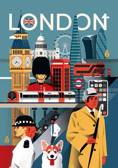 Illustrated City Posters by Arunas Kacinskas London city poster by Arunas Kacinskas. London Illustration, Gravure Illustration, Travel Illustration, Graphic Design Illustration, Medical Illustration, London Poster, Poster City, Usa Tumblr, Graphic Design Posters