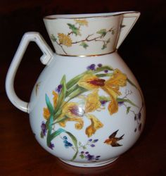 Victorian Aesthetic Transferware Pitcher with polychrome hand painting
