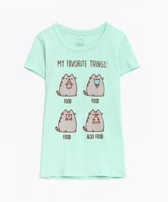 This adorable mint tee features Pusheen and her four favorite things! Machine dry low or line dry. Do not iron printed graphic. Do not bleach. Cute Comfy Outfits, Cute Outfits For Kids, Pretty Outfits, Cool Outfits, Pusheen Love, Pusheen Cat, Pusheen Gifts, Pusheen Shirt, Funny T Shirt Sayings