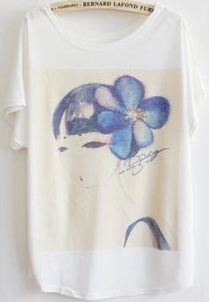 2013 thin plus size loose batwing sleeve short sleeve woman blue flower  Manga e804fcfd53a8