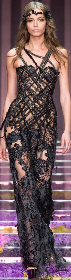 Atelier Versace ~ Artistic Couture Black Lace Gown, Fall 2015