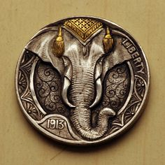 Elephant with Gold rub n' buff hobo nickel