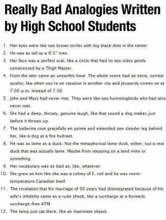 Really Bad Analogies by High Schoolers