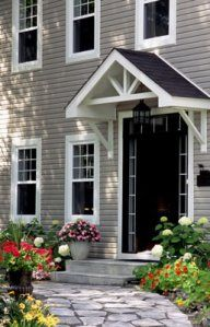 10 great tips for increasing your curb appeal., The Effective Pictures We Offer You About split level curb appeal A quality picture can tell you many things. You can find th Awning Over Door, House With Porch, Small Front Door Entry, House Front, Front Door Canopy, Front Porch Ideas Curb Appeal, Front Entry Doors, Front Porch Design, Porch Overhang