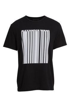 ALEXANDER WANG 'Barcode' Graphic Crewneck T-Shirt. #alexanderwang #cloth #