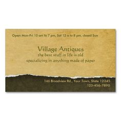 The perfect business card for an antique dealer, antique shop, or anything else vintage.