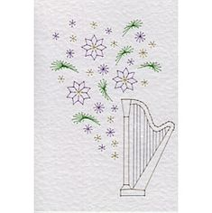 Musical Flowers Harp | Flowers patterns at Stitching Cards.