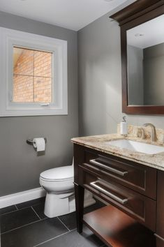benjamin moore affinity thunder is one the best gray paint colours, great with white trim MAIN BATHROOM COLOR Dark Brown Cabinets, Grey Beige Paint, Home, Best Gray Paint, Bathroom Paint Colors, Painting Bathroom, Bathrooms Remodel, Popular Paint Colors, Grey Paint