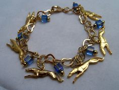Gold with Blue Greyhound Whippet Galgo by GreyhoundCleyhounds, $22.00