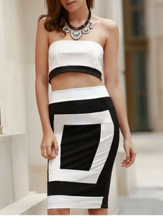63bdfb7b54 Sexy Strapless Sleeveless Black and White Spliced Tube Top + Sheathy Skirt  Twinset For Women