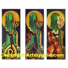 Triptyque - écharpe à la lune - 70,00 €  #Art #Artiste
