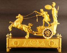 M01 Rare French Ormolu Two Horse Chariot Clock, 'The Chariot of Telemachus'., 1810 - Antiek | ArtListings
